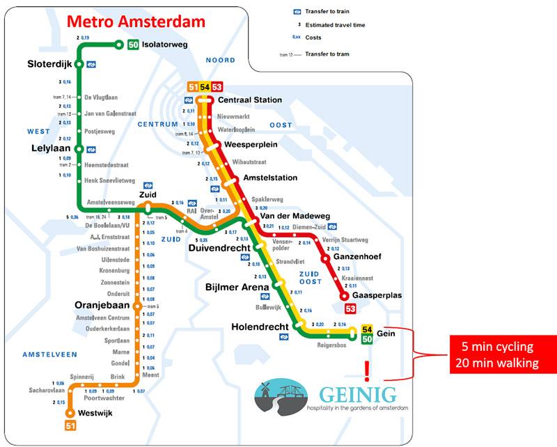locatie Geinig t.o.v van de metro Amsterdam